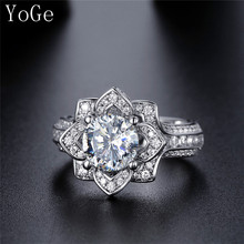 YoGe R0224 Luxury micro pave setting 2ct imported created stone flower shaped women's wedding ring ,shinning CZ jewelry(China)
