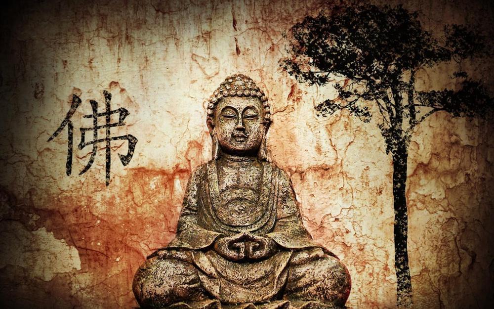 Achetez en gros bouddha impression tissu en ligne des for Buddha mural wallpaper