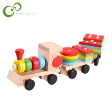 Shape Of Three Section Blocks Cars Small Tractor Train Environmental Protection Wooden Toy thomas Train toys for children S54(China)