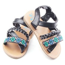 China Baby Sandals Girl Soft Sole Black Red sapato infant Kids Shoe 0-18 Month