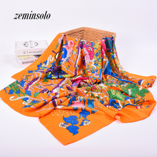 Fashion Foulard Femme Hot Sale Women Shawls Twill Silk Satin Smooth Thin Scarf Print Pattern 130*130CM Square Head Scarves Hijab(China)
