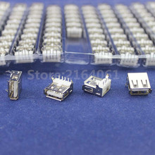 100Pcs Right Angle 4 Pin USB Type A Standard Port Female Plug Jacks Connector PCB Socket USB-A type(China)