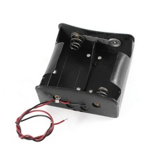 Black 2 Wire Plastic Double Capacity Holder Case Box for D Battery