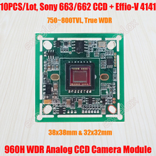 10PCS/Lot 750~800TVL Sony 663 662 WDR CCD Effio-V 4141 DSP CCTV Camera Module Board OSD HLC Motion Detection Wide Dynamic Range(China)