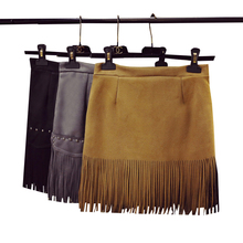 Buy 2017 New Spring Summer Sexy Faux Suede Skirt Women Vintage Rivet Tassel High Waist Skirts Ladies Casual Bodycon Mini Skirt AB226 for $13.99 in AliExpress store