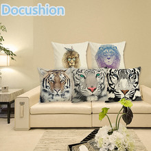 2015 Linen Cushion Tiger Printed 43x43cm For Sofa Decorative Cotton Throw Sofa Decor Couch pillow(China)
