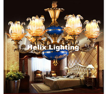 Free Shipping Luxury Chandeliers Base Lustres de Cristal Modern AC Blue Antique Lamp Zinc Alloy Living Room LED Chandelier Lamp