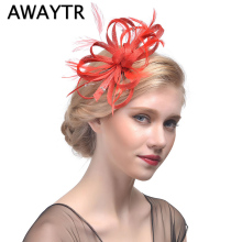 Fascinator Hat AWAYTR Women Net Feather Fascinator Hair Clip Great Gatsby Wedding Cocktail Ascot Race Party Hair Decor Headwear(China)