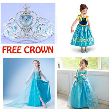2015 girl dress Elsa Anna princess dress costume kids party dresses summer children cosplay dress fantasia infantil Vestido