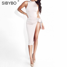 Buy Sibybo Sexy Slim Side Split Bandage Vestidos sexy e Bodycon Hollow Clubwear Dress Women 2018 Halter Party Dresses