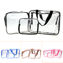 3Pcs/set PVC Transparent Cosmetic Organizer Bag Women Makeup Storage Bag Waterproof Travel Toiletry Pouch Organizer(China)