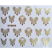 DIY gold design Water Transfer Nails Art Sticker decals lady women manicure tools Nail Wraps Decals(China)