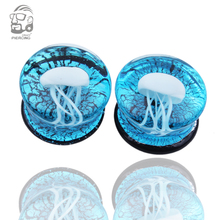 Pair of Glass Ear piercing Double Flared white Jellyfish ear Plugs Translucent bright  ocean body jewelry 8-16mm