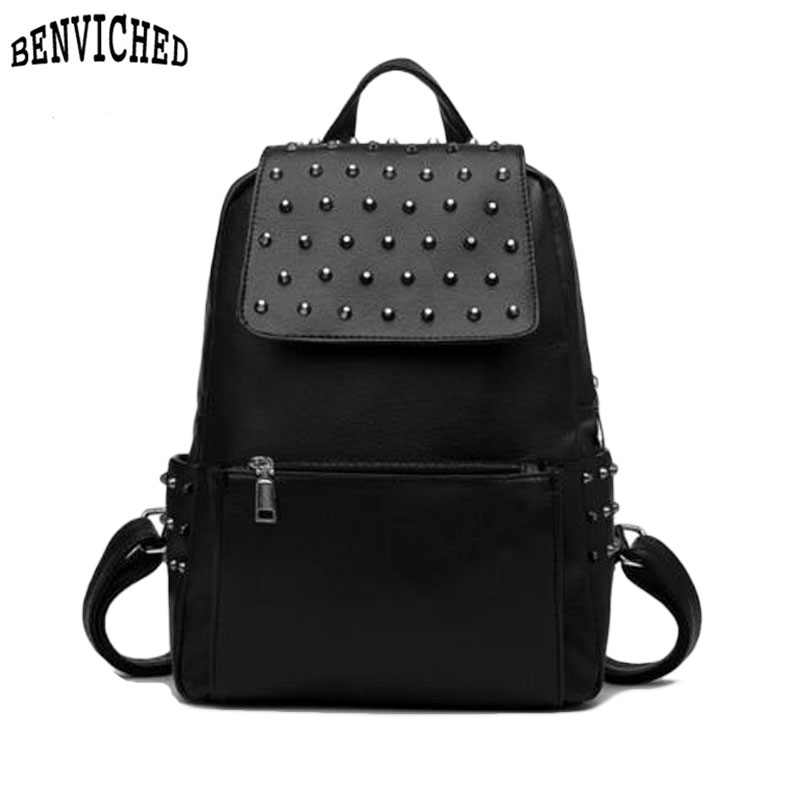 Rivet Daily Backpacks New 2017 Brand Design PU Leather School Bags Preppy Style Women Backpack Luxury Female Travel Backpacks<br><br>Aliexpress