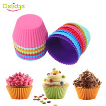 Delidge 6pcs/set Round Shape Colorful Silicone Muffin Cupcake Mold(China)