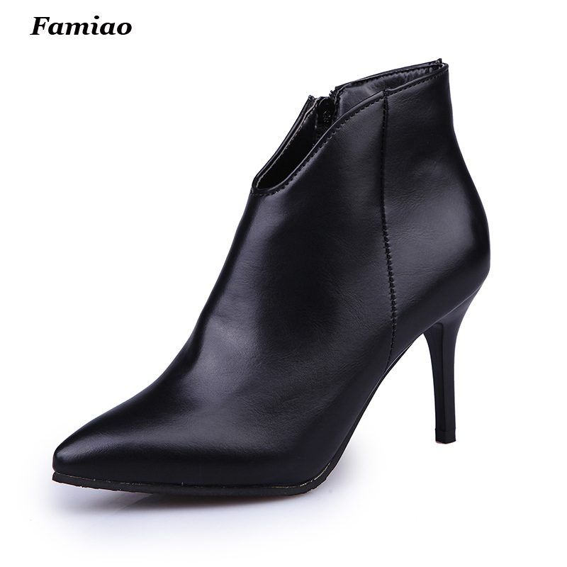 bottes femmes 2017 fashion fall winter ankle boots pointed toe Elegant Sweet womens shoes Prom High Heels boots<br><br>Aliexpress