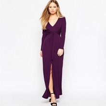 Deep V-neck Bodycon Dress 2016 Spring Women's Long Sleeve Sexy Clubwear Plus Size Waist Slit Long Dress Party Purple Silk Milk