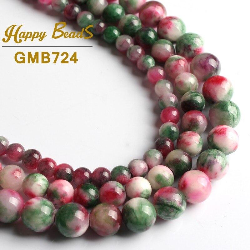 "Fashion Jewelry 4-6-8-10mm Rose Jade Round Gemstone Loose Beads 15/"""