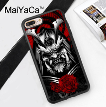Japan Samurai Mask Printed Soft Rubber Mobile Phone Cases Accessories For iPhone 6 6S Plus 7 7 Plus 5 5S 5C SE 4 4S Cover Shell