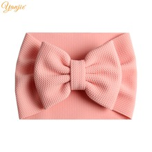 2019 New Arrival Turban Popular 5'' Big Hair Bow Headband For Girls Headwrap Textured Fabric Elastic Kids DIY Hair Accessories(China)