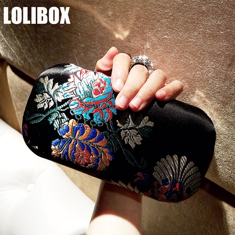 LOLIBOX Women Evening Clutch Bags Satin Vintage Flower Embroidery Women Handbag Diamond Ring Evening Bag Ladies Party Day Clutch<br>