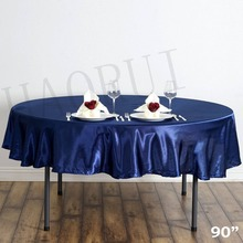 10pcs Customized 90'' Navy Blue Round Dining Table Cloths Satin Tablecloth for Wedding Party Decoration Restaurant Free Shipping(China)