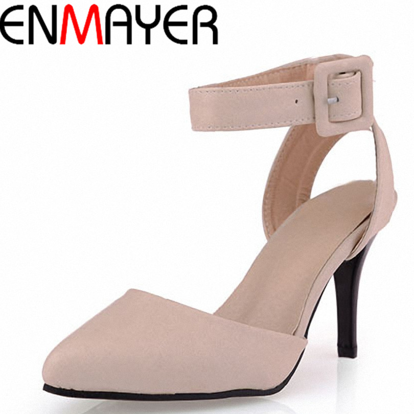 ENMAYER New Arrival Roman Style Ankle Straps High Heels Women Sandals Designer Pointed Toe Platform Summer Shoes Big Size<br><br>Aliexpress