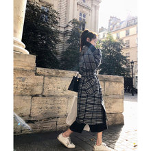 2017 women's fashion houndstooth woolen overcoat female HARAJUKU medium-long woolen outerwear(China)