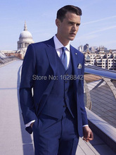 2016 Custom Made Blue 3 Piece Men Wedding Suite Groom Tuxedos Suits Herringbone Retro Gentleman Suits Formal Party Suits