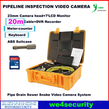Waterproof Pipe Drain Sewer Video Inspection Snake Camera Meter Counter Keyboard DVR Recording Color Monitor 23mm Camera Head