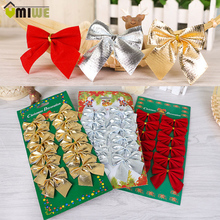 12 Pcs/Pack Mini 6cm Christmas Charms Tree Decoration Ornaments Ribbon Bows Gold Red Silver Bows Decoration Craft For Home Decor