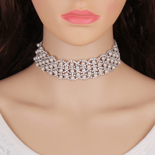 Best lady 2017 New Design Luxury Bohemian Simulated Pearls Chokers Layer Rows Beads Maxi Necklace Statement Jewelry Women 5220