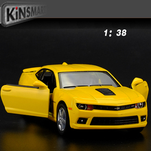 New 1:38 Chevroler camaro bumblebee Diecast Models Car Toys Brinquedos Miniature Pull Back Cars, Doors Openable Brand Car Toy
