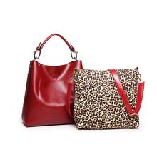 bags brand desinger women handbag red/black casual large hobo tote bags+small shoulder messenger bag with leopard prints
