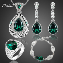 2017 Fashion wedding bridal Water Drop necklace earrings sets white Gold Color Austrian Crystal design jewelry sets 84191