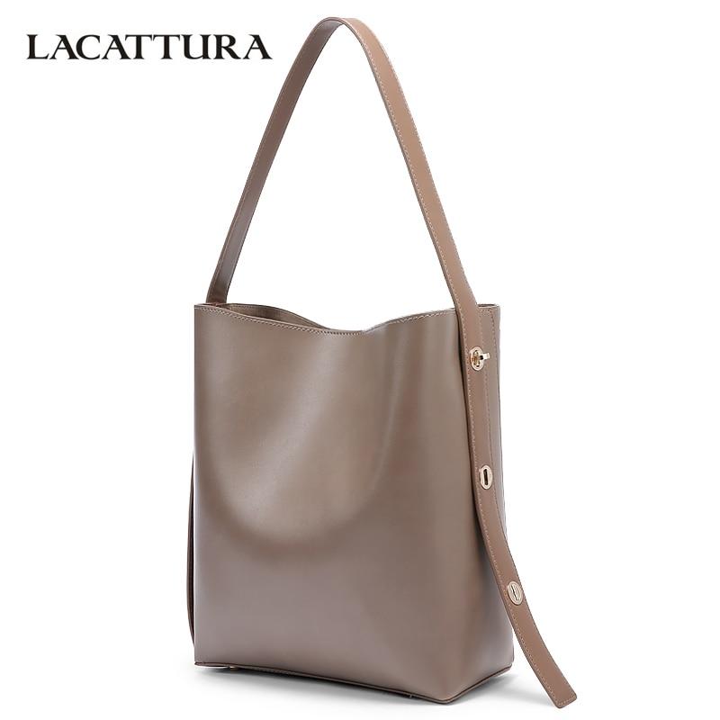 LACATTURA Women Shoulder Bags Designer PU Leather Handbag Ladies Tote Bag Fashion Bucket Composite Bags Retro Brown<br>