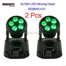 2Pcs New LED Moving Head Light 5x18W RGBWPA 6in1 DMX Wash Light Mini Stage Light Lamp For DJ Projector Disco with Flight Case(China)