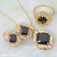 Gallant women new fashion 2017 black Onyx  gold  Pendant/Earrings Fashion Jewelry Sets size 6 7 8 9 S252