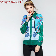 Casual Blouse 2018 New Spring Fashion Turn-Down Collar Color Patchwork Single Breasted Flowers Print High Quality Green Blouse(China)