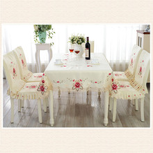 Europe Style Wedding Tablecloth Embroidered Floral Lace Edge Dustproof Covers for Table Home Party Table Cloths