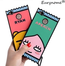 3D Cute cartoon RYAN Lion Pink Peaches soft silicone case cover For xiaomi redmi 4X redrice 4x with screen film and pen(China)