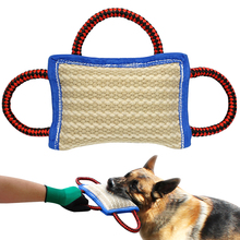 Jute Dog Bite Pillow Dogs Training Playing Toys Pet Chewing Teeth Cleaning Interactive For Police K9 Schutzhund With 2 Handles(China)