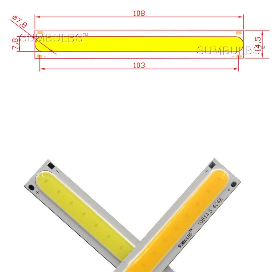 108x15MM 4W Warm Cool White COB LED Light Source Strip Bard Lights DC12V 500LM LED Lamp Bulb DIY Car House Lighting (1)