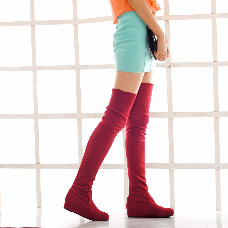 2015 winter New Knight Knee Boots Women Knee Boots Slip-On Round Toe Heighte Increasing Knee shoes boots big size 34-47 R778<br><br>Aliexpress