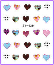 1X Nail Sticker Fabric Sweet Heart Water Transfers Stickers Nail Decals Stickers Water Decal Opp Sleeve Packing SY429(China)