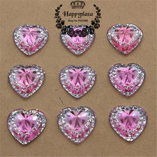 50pcs 14mm Shiny Resin Rhinestone Pink Heart Flatback Scrapbooking for  Phone Wedding Decoration Craft 932a6089541d