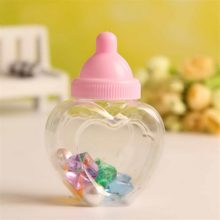 Plastic Blue and Pink Clear Heart Shape Baby Feeding Bottle Box Candy Container DIY Party Favors 12pcs