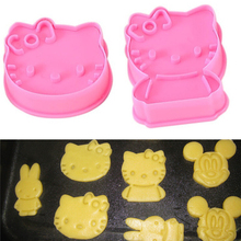 Free shipping 2PCS Hello Kitty shape mold sugar Arts set Fondant Cake tools Plastic cookie cutters kitchen accessories