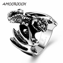 AMOURJOUX Brave Men's Gift Punk Men Jewelry Flying Bat 316L Stainless Steel Rings MenTitanium Male Man Ring Size 8-11(China)