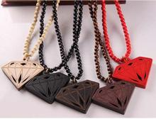 imitation diamond shape wood pendant necklace fashion jewelry for men women punk wood beads geometric necklace accessories